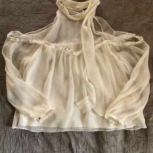 Zara Cold Shoulder Neck Tie Blouse